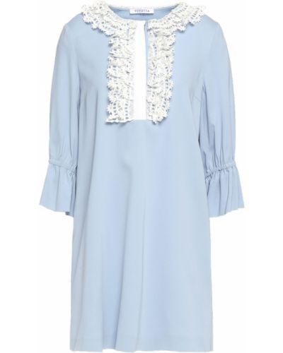 Niebieska sukienka mini koronkowa z gipiury Vivetta