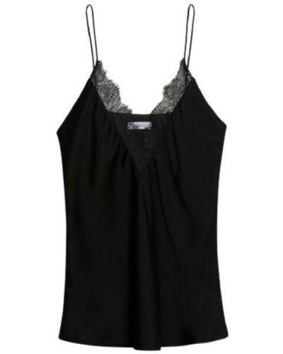 Czarna koszulka z jedwabiu Anine Bing