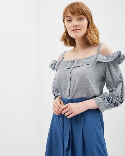 Синяя блузка с открытыми плечами Zarina
