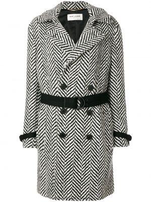 Шерстяное черное пальто с капюшоном Saint Laurent