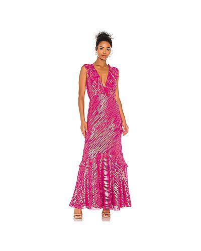 Шелковое розовое платье на молнии с оборками Saloni