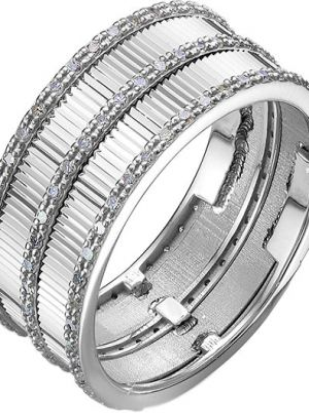 Серебряное кольцо свободного кроя с бриллиантом Imperial