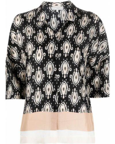 Черная классическая рубашка с короткими рукавами с воротником Antonelli