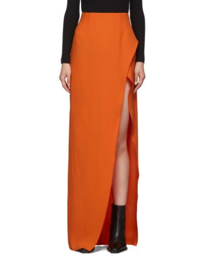 Pomarańczowy spódnica maxi z krepy Mugler