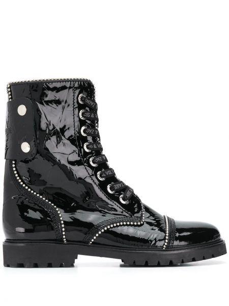 Лаковые кожаные черные ботинки на молнии Zadig&voltaire