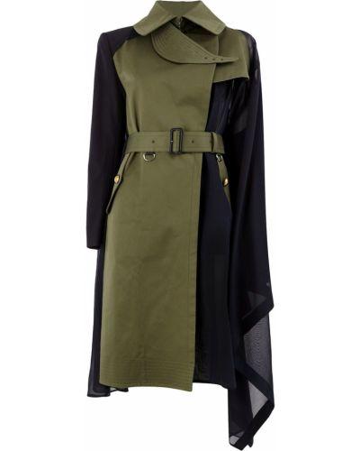 Пальто зеленое с запахом Sacai