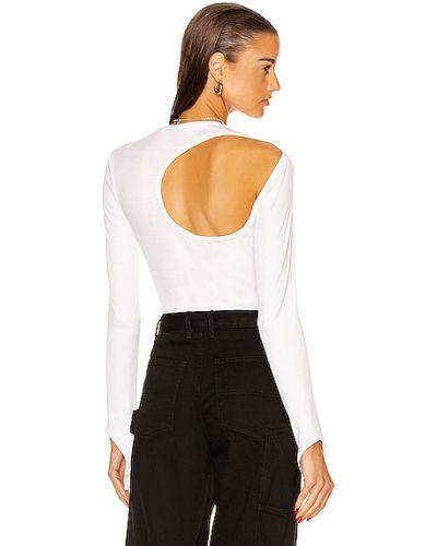 Biały top z długimi rękawami bawełniany Helmut Lang