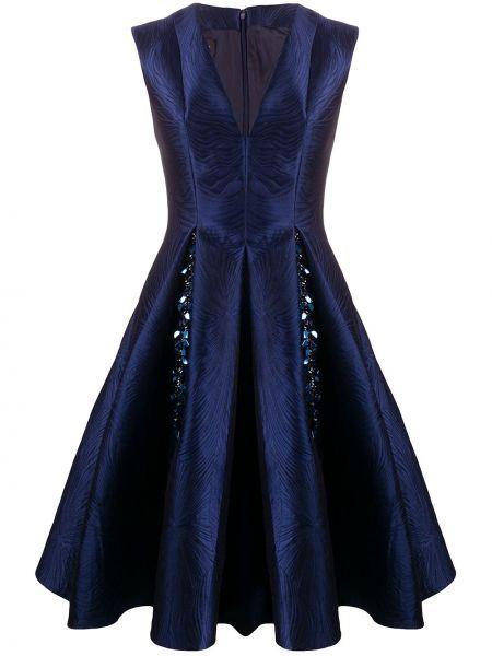 Синее шелковое платье с V-образным вырезом без рукавов Talbot Runhof