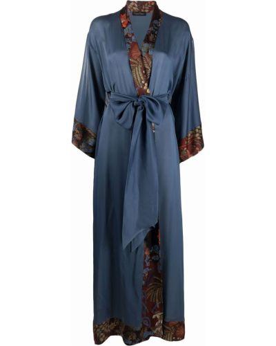 Шелковый халат - синий Carine Gilson