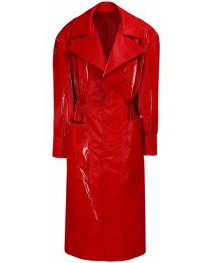 Мерцающая красная длинная куртка с манжетами с заплатками Mugler