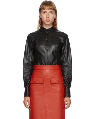 Кожаная черная рубашка с манжетами с воротником Msgm