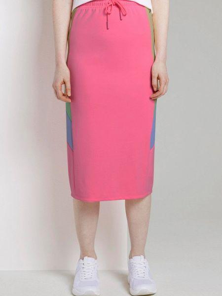 Джинсовая юбка карандаш розовая Tom Tailor Denim