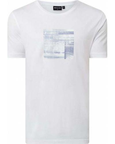 Biały t-shirt bawełniany z printem Nicce