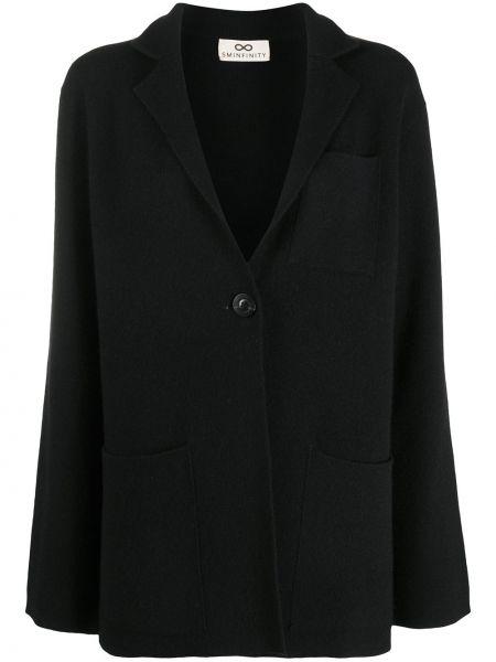 Кашемировый черный пиджак с карманами на пуговицах Sminfinity