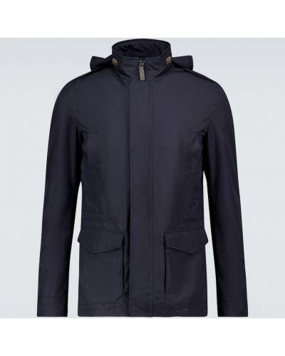 Текстильная синяя куртка с капюшоном Herno