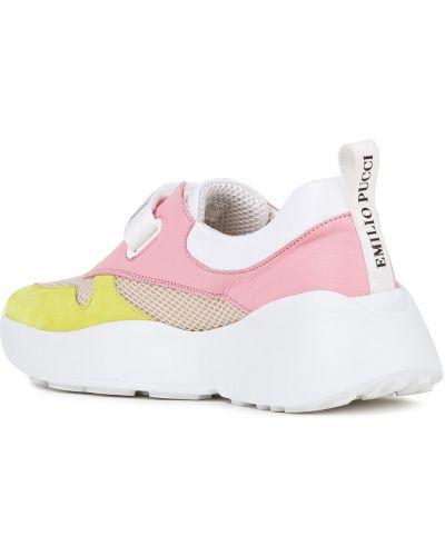 Różowe sneakersy na platformie skorzane Emilio Pucci