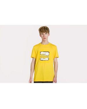Żółty t-shirt bawełniany oversize Lacoste