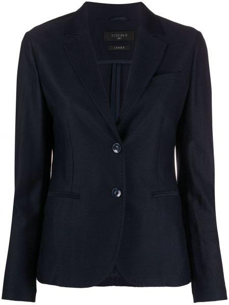 Шерстяной синий пиджак с карманами Circolo 1901
