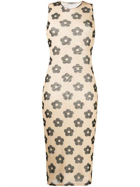 Платье миди с цветочным принтом с рукавами Sandy Liang