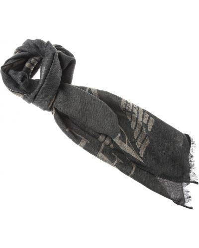 Czarny szalik z akrylu z frędzlami Emporio Armani