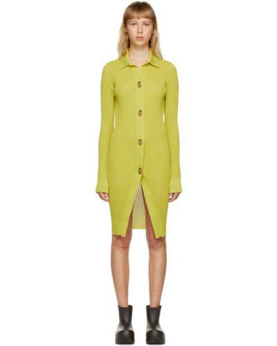 Шелковое с рукавами зеленое платье макси Bottega Veneta