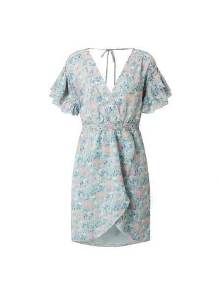 Niebieska sukienka mini rozkloszowana z falbanami Freebird