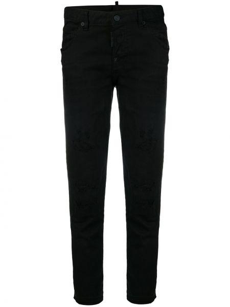 Зауженные черные джинсы-скинни с карманами Dsquared2