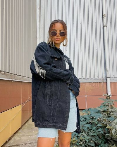 Джинсовая куртка с бахромой - черная Srs