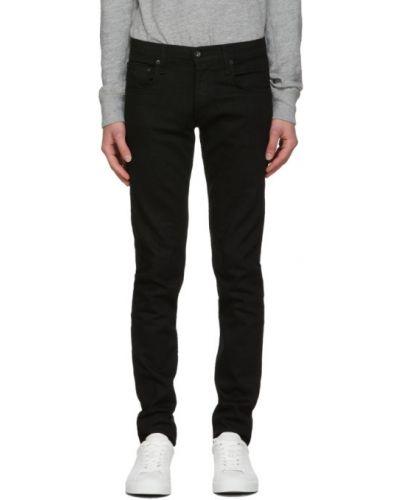 Zawężony czarny obcisłe dżinsy z paskiem z haftem Rag & Bone