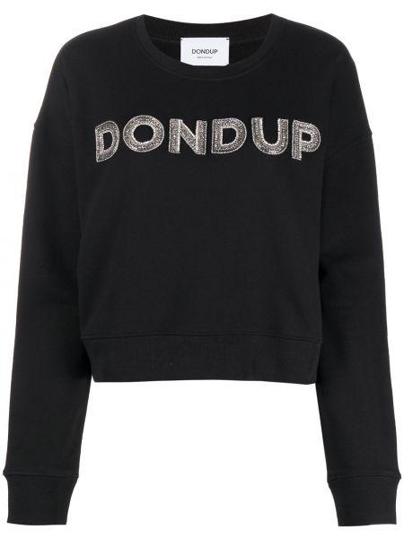 Хлопковая черная рубашка круглая с длинными рукавами Dondup