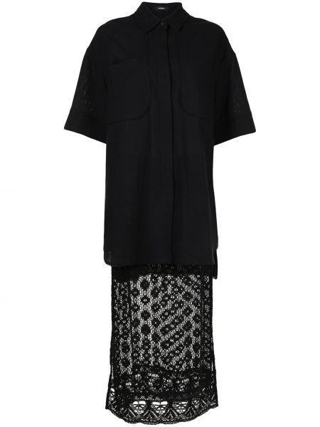Кружевное черное платье мини с короткими рукавами Goen.j
