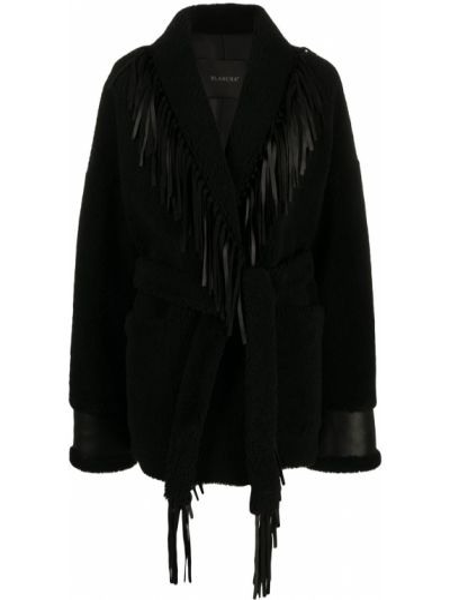 Черная кожаная длинная куртка оверсайз Blancha
