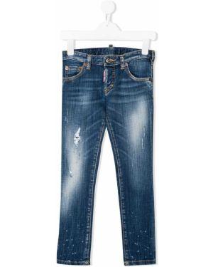 Синие облегающие джинсы-скинни Dsquared2 Kids