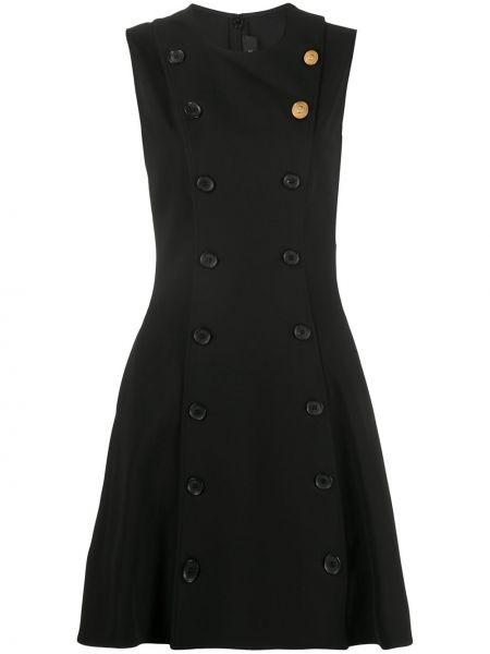 Прямое шелковое черное платье мини Versace