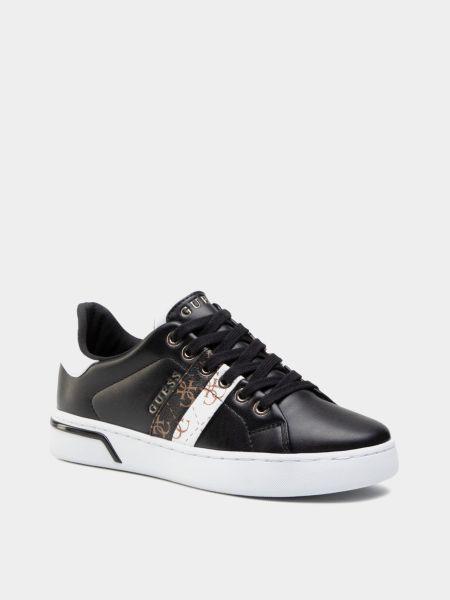 Текстильные черные низкие кеды на шнуровке Guess