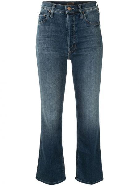 Расклешенные синие укороченные джинсы на молнии Mother