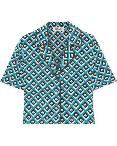 Koszula z jedwabiu turkusowa Diane Von Furstenberg