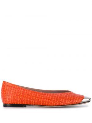 Кожаные балетки на каблуке без застежки Emilio Pucci