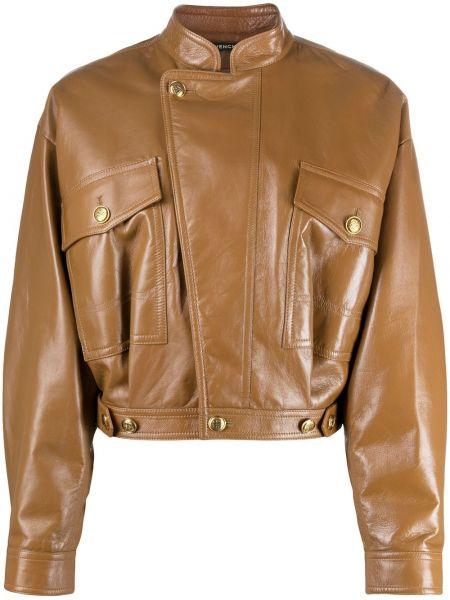 Brązowy prosto długa kurtka z kieszeniami z długimi rękawami Givenchy