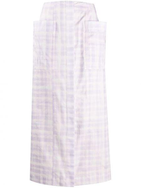 Фиолетовая с завышенной талией юбка миди в рубчик с карманами Jacquemus