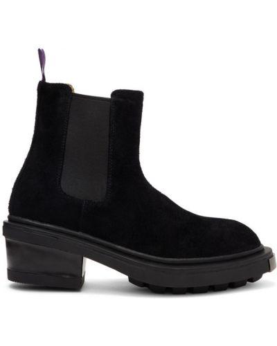 Zamsz czarny buty obcasy prążkowany na pięcie Eytys