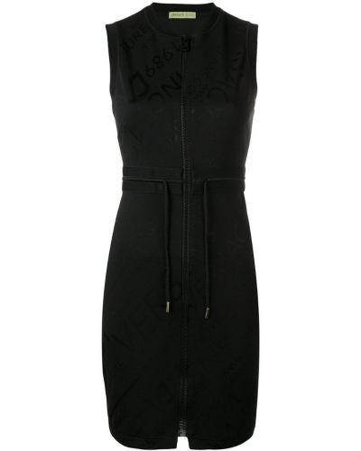 Черное приталенное платье мини Versace Jeans