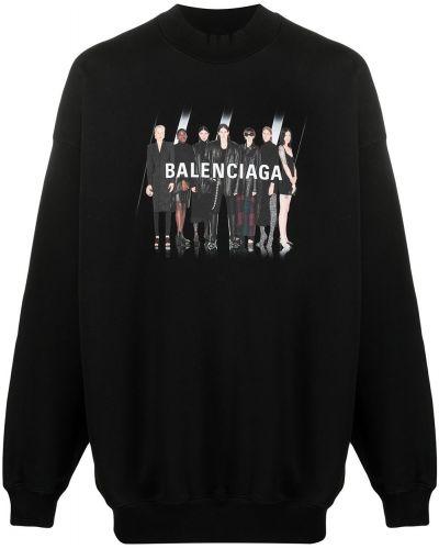 Bawełna czarny z rękawami bluza z kapturem przycięte Balenciaga