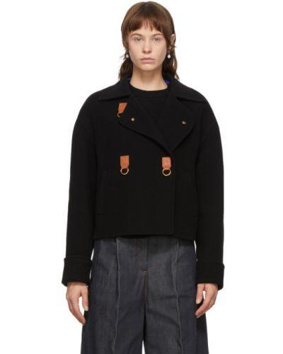 С рукавами черная длинная куртка с воротником Loewe