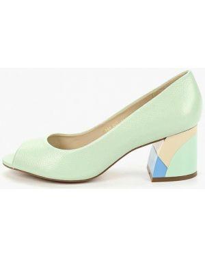 Туфли на каблуке кожаные зеленый Indiana