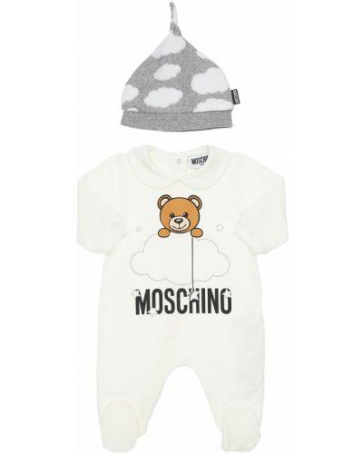 Bawełna biały kapelusz prążkowany z łatami Moschino