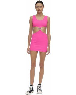 Розовое платье мини с декольте без рукавов металлическое Filles A Papa