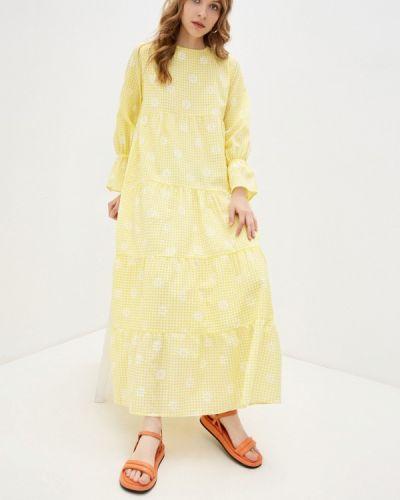 Прямое желтое платье А-силуэта Trendyol