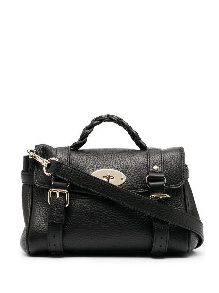 Czarna torba na ramię skórzana klamry Mulberry