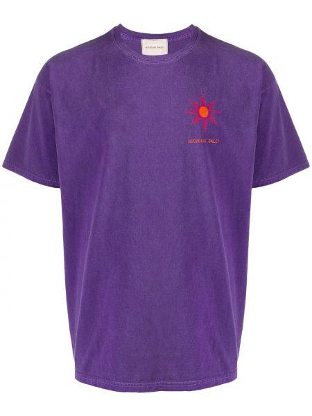 Koszula krótkie z krótkim rękawem z logo fioletowy Nicholas Daley